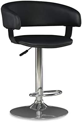 Powell Furniture Black Faux Leather Barrel and Chrome Adjustable Height Bar Stool