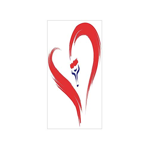 Decorative Privacy Window Film/Brush Drawing of a Heart Symbol Mutual Special Emotions Positive Humanly Desire Graphic/No-Glue Self Static Cling for Home Bedroom Bathroom Kitchen Office Decor Red Blue ()