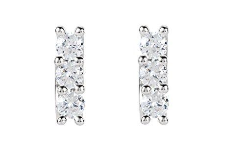 Boucles d'oreilles multi-pierre avec diamants Rond Or blanc-585/1000( 1.46 Ct, F Couleur, VS2 Clarté)