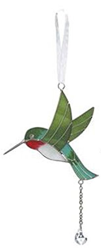 Red White and Green Stained Glass Hummingbird Car Charm - By Ganz