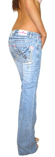 femme Jeans jeans pour basse Clair low taille bestyledberlin Bleu style rise 7df8wfqR