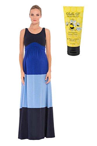 Bundle 2 Items Olian Color Block Maternity Maxi BLUES XS + BellaB Body Buzz 2 oz