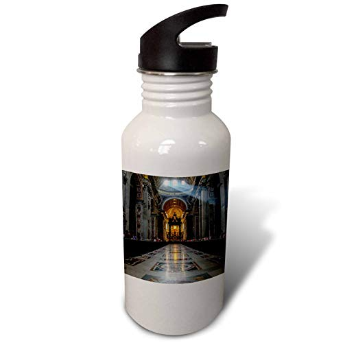 3dRose Elysium Photography - Architecture - St. Peters Basilica interior, Rome, Italy - Flip Straw 21oz Water Bottle (wb_289615_2) by 3dRose