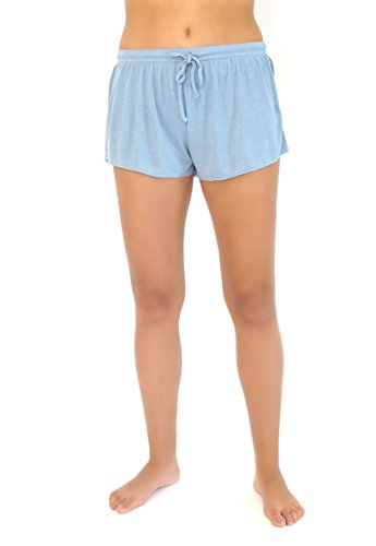 BAREFOOT DREAMS LUXE RIBBED JERSEY SHORT (LARGE, CHAMBRAY)