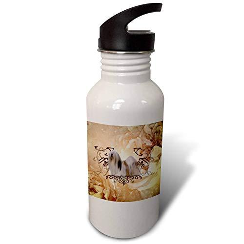 (3dRose Heike Köhnen Design Animal - Beautiful lhasa apso with floral elements - Flip Straw 21oz Water Bottle)