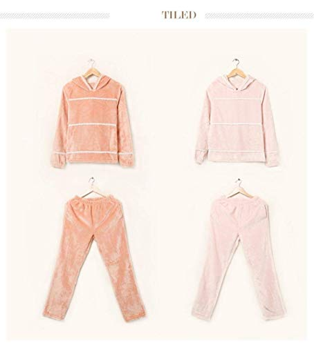 Hogar De Anchos Conjunto Elegantes Invierno Espesar Pantalones Termica Pijama Moda El Larga Mujer Pijamas Para Manga Warm Ropa Encapuchado Ocasional Orange Noche TwOq5gAnq