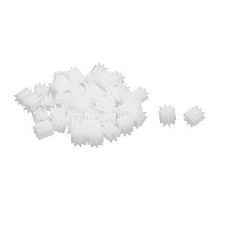 uxcell 50pcs 8 Teeth 1.5mm Hole Dia Plastic Gear Wheel for Toy Car Motor Shaft