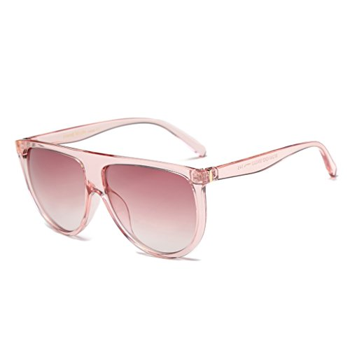Itemap Fashion Women Big Frame Sunglasses Flat Top Designer Vintage Eyeglass Shades (Pink+Gradual - Pictures Sunglasses Oakley