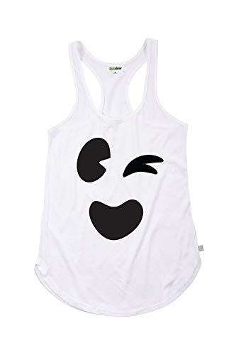 Women's White Ghost Face Halloween Costume T-Shirt Tank Top (Small) -