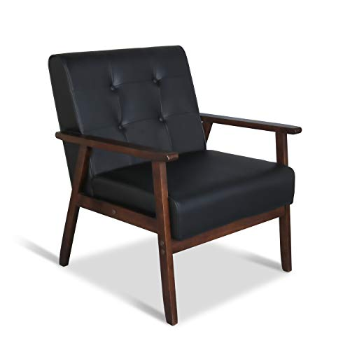 Mid-Century Retro Modern Accent Chair Wooden Arm Upholstered Tufted Back Lounge Chairs Seat Size 24.4″ 18.3″ (Deep) (Square Leg Black)