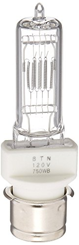 BTN120V/750W/P28S/T7/120V/CL 750-watt 120-volt Medium Pre-Focus Based Stage and Studio T7 Bulb, Clear ()