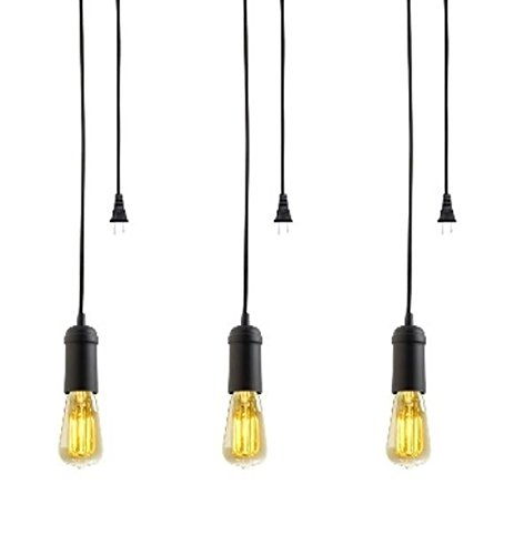 Globe Electric Vintage Edison 1-Light Plug-In Mini Pendant, 3-Pack, Matte Black Finish, Black Woven Fabric Cord, In-Line On/Off Switch, (Vintage Mini Pendant)