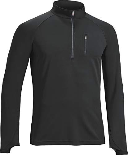 Mens Quarter Zip Microfiber Jacket - Expert Brand Men's 1/2 Zip Sweatshirt   Performance Long Sleeve   w/Thumbholes, Running, Gym Black