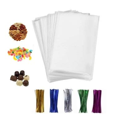 200 Pcs 4×6 Clear flat Cello/Cellophane Treat Bags for Gift Wrapping, Bakery, Cookie, Candies, Dessert, Party Favors Packaging, with color Twist Ties!
