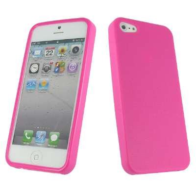 EMPIRE Apple iPhone 5 / 5G Textured Flexible Poly Skin Case Tasche Hülle Cover, Hot Pink Rosa