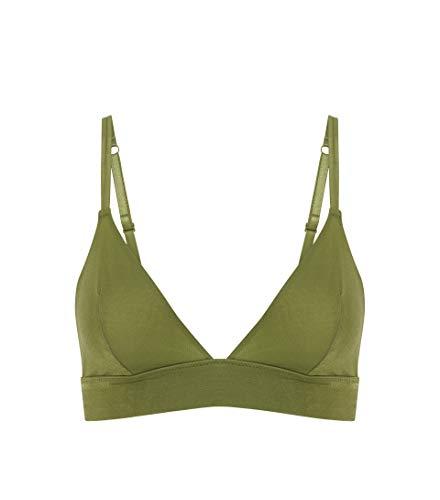 Heidi Klum Intimates Women's Lace Soft Cup Triangle Bra - Ladies Sexy Lingerie Bralette - Gloss Bar Cool Green, Medium