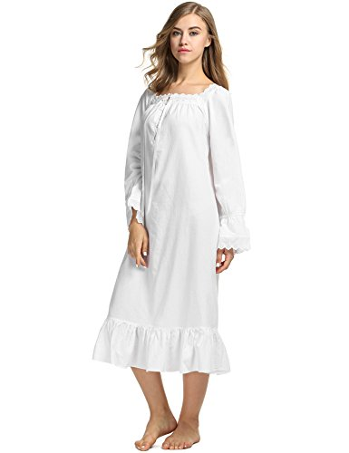 Avidlove Womens Cotton Victorian Vintage Long Sleeve White Classic Nightgown Sleepshirt,Large,White 2
