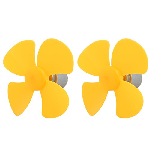 Rotary Motor Vane (Aexit 2 Pcs Electrical equipment DC 3V 0.13A 12500RPM Motor 4 Vanes 80mm Rotary DIY RC Propeller Yellow)