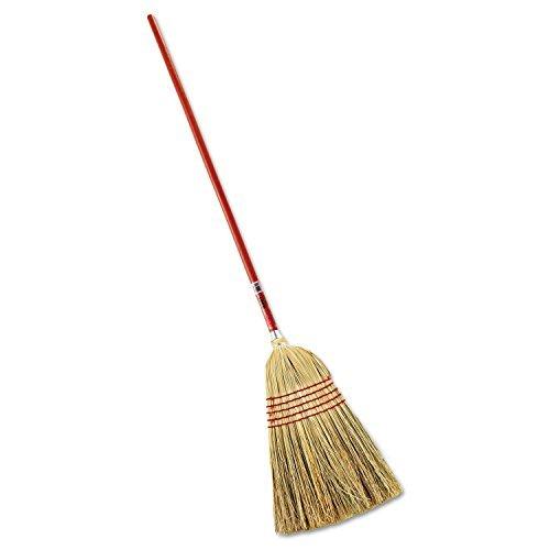 Corn Household Broom - Rubbermaid FG638100 Red 1-Inch Handle Standard Corn Broom