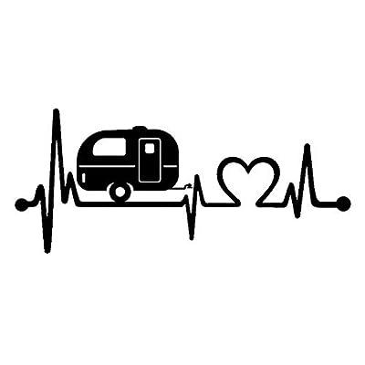Bluegrass Decals F1026 Camper Travel Trailer Heartbeat Lifeline Decal Sticker (Black): Automotive