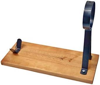 Loubren Ham-04 Soporte JAMONERO + Charia y Cuchillo Flexible 25 cm para Cortar Pata y Paleta de Jamon Serrano e Iberico Base de Corte Color Miel