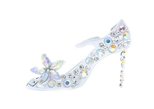 Enamel High Heel (High Heel Fashion Pump Shoe Stiletto White Rhinestone Pin Brooch Scarf ClipsCorsage Jewelry for Lady Broach Pendant)