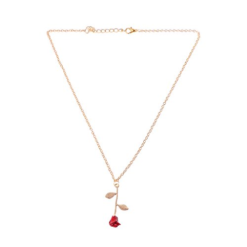 - CUTEQ Necklaces Beauty and Beast Golden Filled 3D Red Rose Pendant Necklaces for Women Jewelry Gift