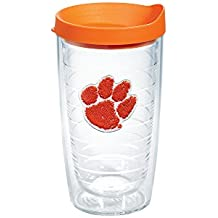 Tervis 1146383 Clemson Tigers Paw Tumbler with Emblem and Orange Lid 16oz, Clear