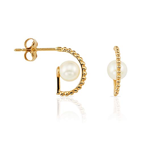 (Solid 14k Yellow Gold Half Hoop Stud Earrings with Pearlfor Women and Girls)