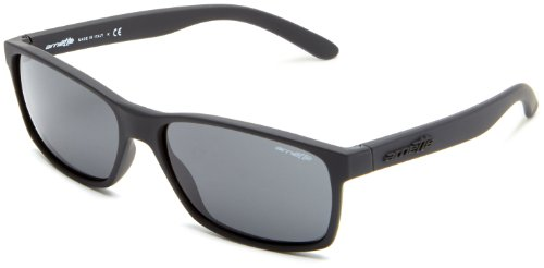 Arnette Men's AN4185 Slickster Rectangular Sunglasses, Fuzzy Black/Grey, 59 ()
