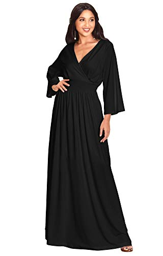KOH KOH Petite Womens Long Kimono Sleeve with Sleeves Wrap Fall Winter Empire Waist Flowy Casual Formal Cute Maternity Robe Abaya Gowns Gown Maxi Dress Dresses, Black S 4-6