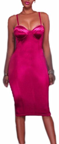 Midi Color Bodycon Spaghetti Pink neck V Dress Womens Strap Solid Jaycargogo qP8OAwW