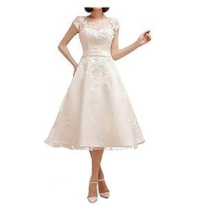 H.S.D Women's A Line Appliques Tea Length Wedding Dresses Bridal Gowns
