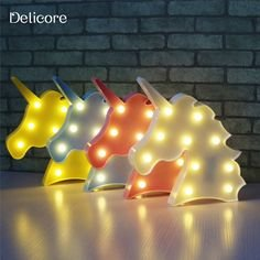 High-Season DELICORE Cute Unicorn Head Led Night Light Animal Marquee Lamps On Wall For Children Party Bedroom Decor Kids Gifts S027 (Pink)