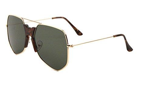 Napoli Oversized Square Flat Top Aviator Sunglasses w/ Keyhole Bridge (Gold Frame w/ Tortoise Keyhole Bridge, - Napoli Sunglasses