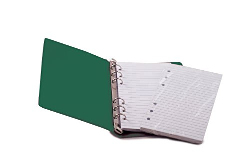 """HNR GREEN Loose-Leaf Memo Book, 6 3/4 x 3 3/4"""", 6-Ring Binder, 80 Pages + Free Refill 80 Pages"""
