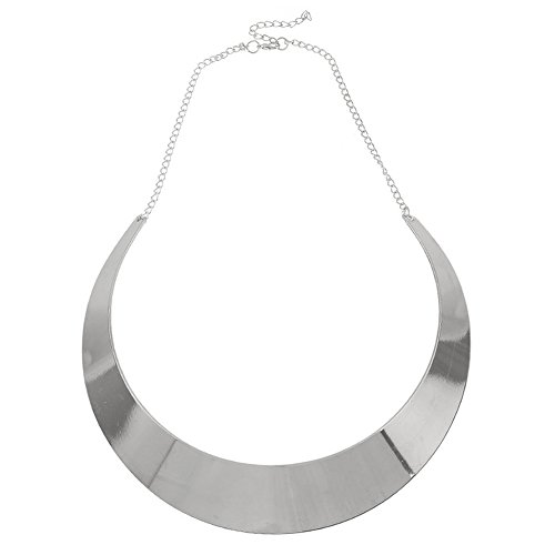 Half-Moon Collar Necklace Choker Women Unique Chunky Costume Curved Chain Alloy Mirror Finish Jewelry Silver (Unique Costume)