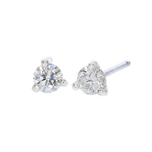 Classic Round 1/5 ctw Diamond Martini Style Stud Earrings in 14K White Gold