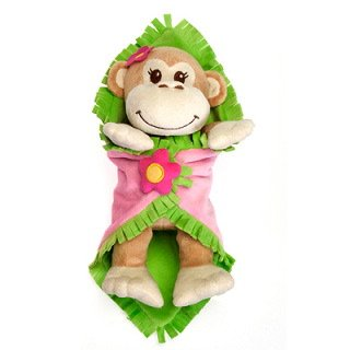 11  Girl Monkey Blanket Babies Plush Stuffed Animal Toy by Fiesta Toys