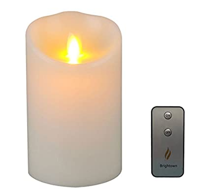 "Remote Included Lumina Wax Candle, 3.5""Flameless Moving Wick Candle with Timer, Ivory"