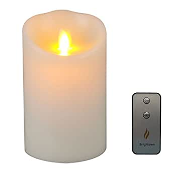 Brightown Lumina 3.5-Inch by 5-Inch Flameless Moving Wick Wax Candle with Remote, Ivory
