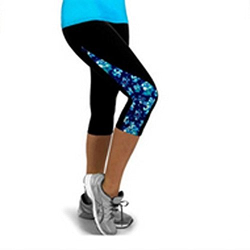 Gillberry Power Flex Yoga Capris Pants Tummy Control Workout Running 4 Way Stretch Yoga Capris Leggings Side Pocket (Blue, L) - Air Capri Leggings