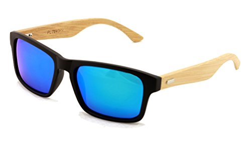 Rectangular Genuine Real Bamboo Wood Polarized Sunglasses With Reflective Mirror Tint 1 <p>These style eyeglasses are designed for both men and women and feature unique and stylish wooden arms. The lenses are polarized revo mirror and offer ultraviolet protection. The bamboo arms are rigid and strong, curving around the ear with a slight taper. The face of the glasses features a thick plastic frame that is flat. Quality lightweight frame that floats in water. Comes with it's own Vision World Microfiber Pouch Pass FDA inspection with impact resistance lens that meet ANSI280.3 UV protection standard. Frame Width: 142mm, Lens Height: 38mm, Lens Width:53mm Real bamboo wood temple withe metal hinges</p>