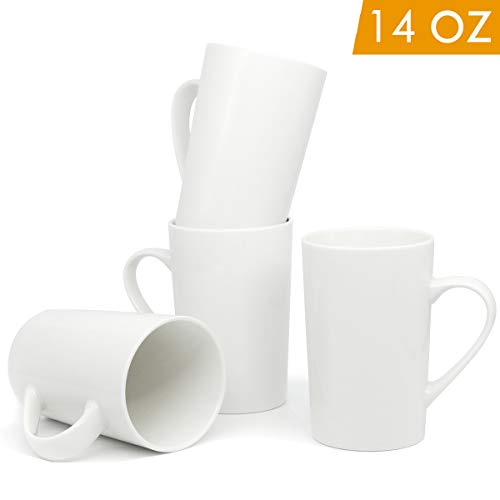 - 14 OZ White Ceramic Coffee Mug, Smilatte Blank Plain Porcelain Cup with Handle for Latte Cappuccino Tea, Set of 4