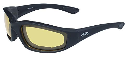 Global Vision Eyewear Men's Kickback 24 Sunglasses with Photochromic Color Changing Yellow Lens, Matte Black Frame