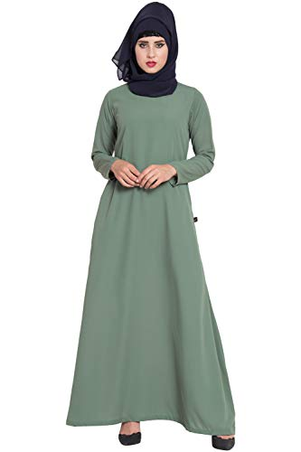 Mushkiya- Stylish & Cheap Abaya For Daily Use Jade Green AB-112-JG
