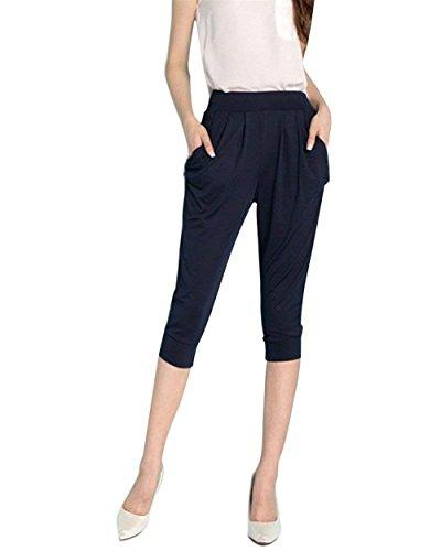Pantaloni Donna Elegante Pantaloni Capri Pantaloni Estivi Leggero Accogliente Monocromo Tempo Libero Pantaloni Trousers Grazioso Moda Blau
