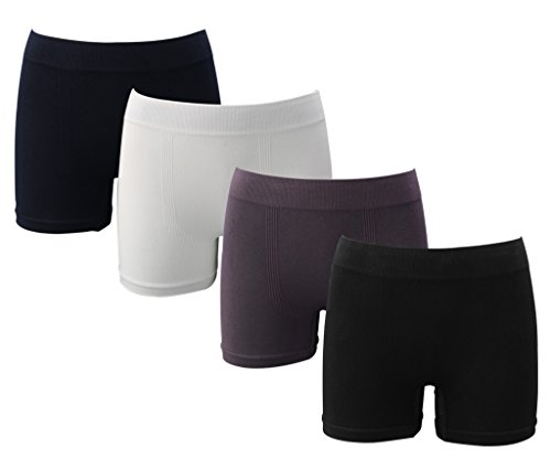 Copper Antibacterial Men's Seamless Underwear Bamboo Fiber Boxer Briefs 4 Pack,S/M
