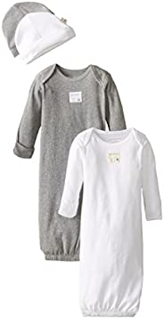 Burt's Bees Baby Unisex Gown and Cap Set, 100% Organic Cotton, 0-6 Mo