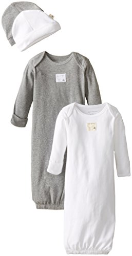 Convertible Gown Set (Burt's Bees Baby Unisex Baby Gown and Cap Set, 100% Organic Cotton, 0-6 Months, Cloud/Heather Grey, 2-Pack)
